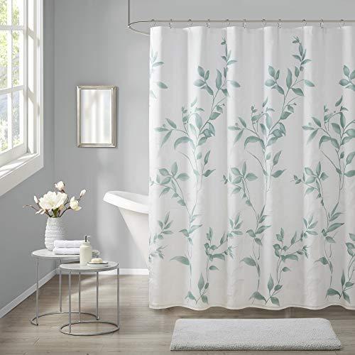 "Madison Park Cecily Bathroom Shower, Printed Botanical Design Modern Privacy Bath Fabric Curtains, 72""x72"", Seafoam"