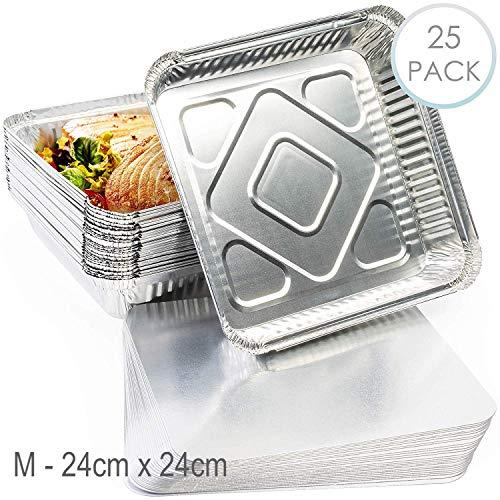 25 Barquettes Jetables Aluminium, Plateaux avec Couvercle, (M) 24 x 24 cm - Parfait pour la Cuisson Grillage Cuisine - Ultra Résistant, Va au Four et Imperméable.