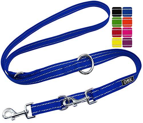 DDOXX Hundeleine Nylon, reflektierend, 3fach verstellbar, 2m | für kleine & große Hunde | Doppel-Leine Zwei Hund Katze Welpe | Schlepp-Leine | Führ-Leine | Lauf-Leine Welpen-Leine | S, Blau
