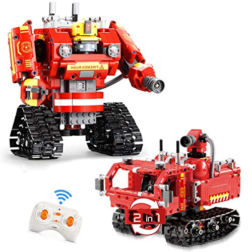 2 in 1 Building Block Robot Fire Truck Toy with Remote Control Robot Engineering Science Education...