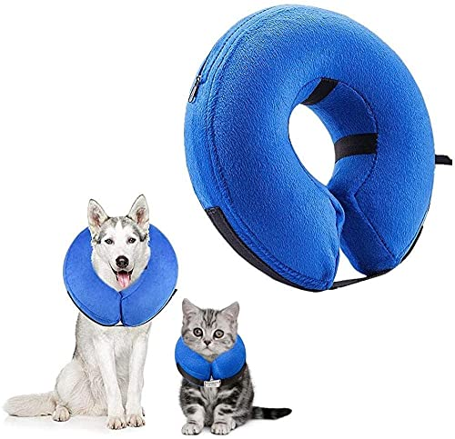 Cuello de Gato Cono Recuperación de Pet E-Collar Comfy Collar Pet Cono Cono Cono de recuperación Cono para Rashes Cuello de Perro básico Inflable Cono de Perro Cono Labarador M-27 * 27 cm-S-22 *