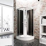 Schulte EP581018 Wellnesskabine Rhodos, 85 x 85 cm, 4 mm Sicherheits-Glas klar hell, Profile alu-natur, Rückwände grau, Duschwanne weiß