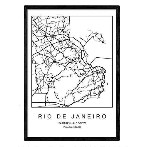 Nacnic Lámina Mapa de la Ciudad Rio de Janeiro Estilo nordico en Blanco y Negro. Poster tamaño A3 Sin Marco Impreso Papel 250 gr. Cuadros, láminas y Posters para Salon y Dormitorio