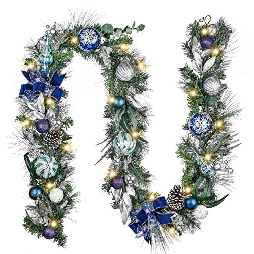 Valery Madelyn Pre-Lit 9 Feet Winter Wishes Blue Silver Lighted Christmas Garland Decorations with Ball Ornament Bows, Battery Operated 20 LED Lights for Outdoor Christmas Tree Mantel Fireplace