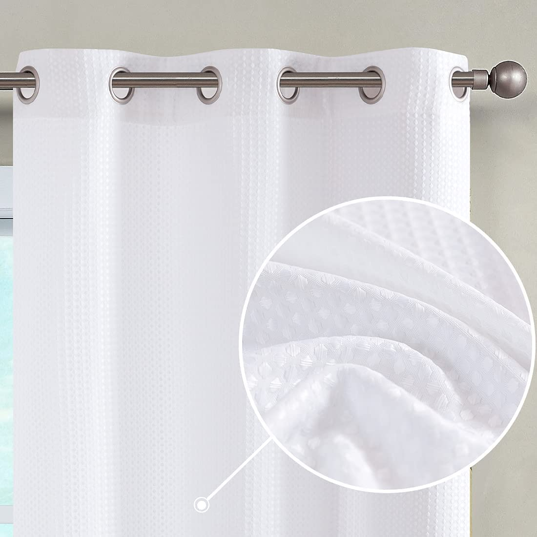 Vangao Living Room Curtain White Weave Jacksonville Mall Privacy Gr Waffle Luxury goods