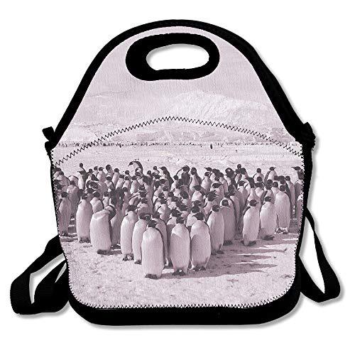 Bolsa de almuerzo de neopreno - Bolsas de almuerzo reutilizables impermeables Club Penguin Cajas para hombres Mujeres Adultos Niños Enfermeras para niños pequeños con correa de hombro ajustable - La m