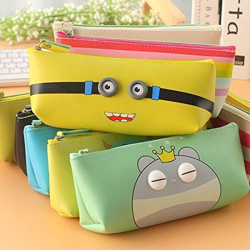 Parteet Soft Silicon School Pencil Pouch Stationary Case Box - for Birthday Party Return Gift for Kids (Pack of 6 Pcs) (Assorted Design)