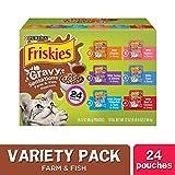 Purina Friskies Gravy Wet Cat Food Variety Pack, Gravy Sensations Farm & Fish Pouches - (24) 3 oz. Pouches
