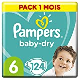 Couches Pampers Taille 6 (13-18 kg) - Baby Dry couches, 124 couches, Pack 1 Mois /NEW