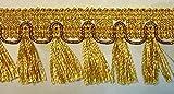 1A-Kurzwaren 16,40m Fransen-Borte 4,5cm breit Farbe: Lurex-Gold TSL-782-go