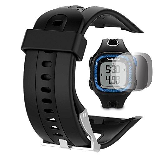 TUSITA Garmin Forerunner 10 15 Band (Groß 2.5CM Schirm) mit Schirm-Schutz, Wiedereinbau-weicher Silikon-Armband-Sport-Bügel Wristband Zusatz für Garmin Uhr (SCHWARZ)