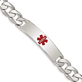 925 Sterling Silver Medical Curb Link Id Bracelet 8.5 Inch Fine Jewelry For Women Gift Set