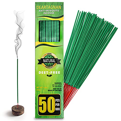 Mosquito Repellent Incense Sticks 50 Pieces per Box New Formula/Natural Ingredients Citronella Oil/Lemongrass Oil/Made with Natural Based Essential Oils - DEET Free