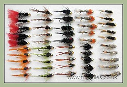 Goldkopf Nymphe Forellenfliegen, 50 Stück, 10 Sorten, gemischt 10/12, Fliegenfischen