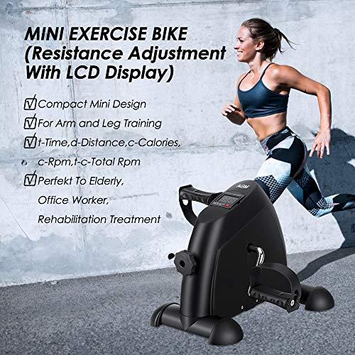 AGM Mini Vélo d'Appartement, Pédalier Mouvement Trainer Mini Vélo avec Moniteur LCD Résistance Réglable Musculation pour Bras et Jambes (Noir)