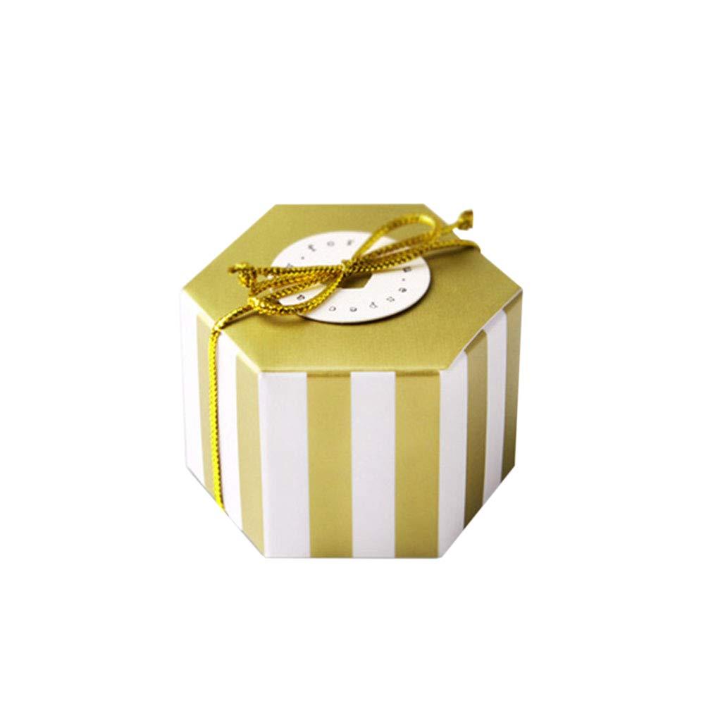 TOYANDONA 50 Unidades Forma Hexagonal Caja de Dulces Franja Bolsa de Dulces Fiesta de Papel Regalo de Almacenamiento contenedor - Franja Dorada (sin Tarjeta ni Hilo Dorado): Amazon.es: Hogar