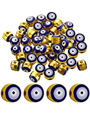 120 Pieces Evil Eye Spacer Beads Alloy Enamel Evil Eye Beads Charms for DIY Bracelet Necklace Jewelry Crafts