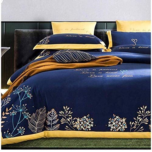 Nologo Brushed Cotton Embroidery Bedding set Queen King size Duvet Quilt cover Bed sheet 180x200cm DAGUAI