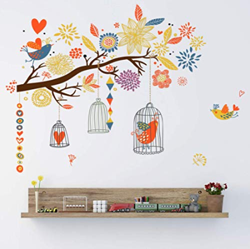 N\A wall stickers Colorful branches bird cage wall stickers living room bedroom room decoration children's room art decals wallpaper creative stickers