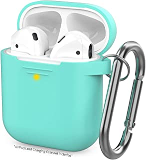 AHASTYLE Upgrade AirPods Case Protective Cover (Front LED Visible) Silicone Compatible with Apple AirPods 2 and 1(Mint Green)