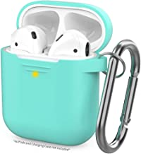 AhaStyle Upgrade AirPods Case Silicon Protective Cover [Front LED Visible] Compatible with Apple AirPods 2 and 1(Mint Green)