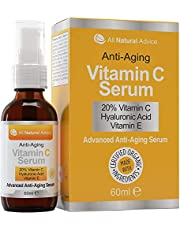 Serum met 20% Vitamine C - 60 ml / 2 fl oz gemaakt in Canada - ingrediënten met een biologisch keurmerk + 11% hyaluronzuur + vochtinbrengende crème met vitamine E + formule tegen veroudering, geweldig voor uw huid + inclusief sproeipompje en druppelaar