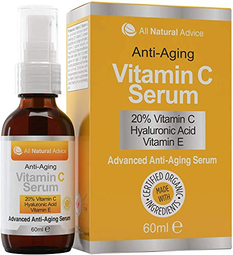 20% Vitamin C Serum - 60 ml / 2 oz Made in Canada - Certified Organic Ingredients + 11% Hyaluronic Acid + Vitamin E Moisturizer + Anti-Aging formulation, Excellent for Your Skin + Includes Pump & Dropper