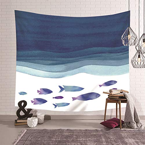 Daesar Tapiz Habitacion,Tapiz Pared Decoracion Retro Peces y Mar Abstracto Poliéster Tapices Decorativos Pared Azul Oscuro,210x140CM