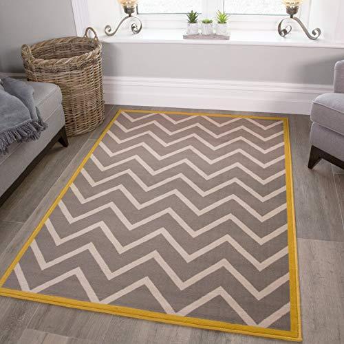The Rug House Milan Moderner Designer Teppich mit Chevron Zick-Zack-Muster für das Wohnzimmer in grau-beige mit gelber bordüre 120cm x 170cm