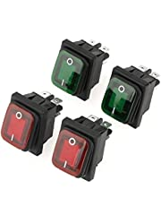 4 interruptores basculantes tipo barco, 6 A, 250 V, 4 pines, 2 posiciones, ON-OFF Mini interruptores basculantes impermeables