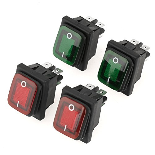 4 PCS/Iuego 220V Interruptor Basculante,4 Pin 2 Posiciones ON-OFF Rocker Boat Switch Snap Impermeable a Prueba de polvo Lámpara Verde roja Rocker Switch