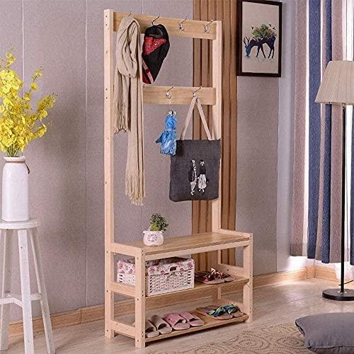 N/Z Inicio Equipamiento Perchero de bambú Banco de Zapatos 2 en 1 Diseño Hall Árbol Estante de Entrada 7 Ganchos Taburete para Cambiar Zapatos Vintage (Color: Marrón)