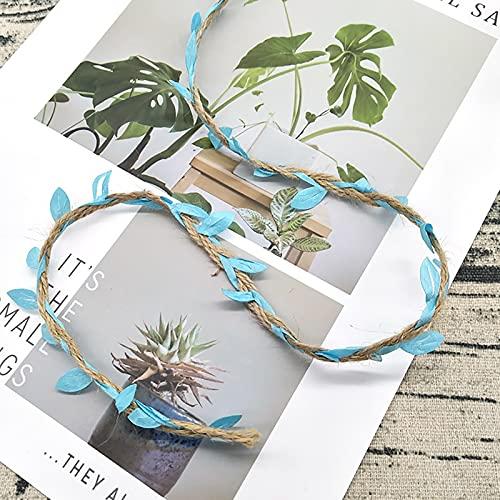 'N/A' Hilo De Yute Natural, Cuerda De Yute Antiguo Hecho A Mano De Guirnalda, Hiedra Falsa, Decoración del Partido De Estilo Forestal Y Diseño De La Sala De Bodas(Color:Cielo Azul)