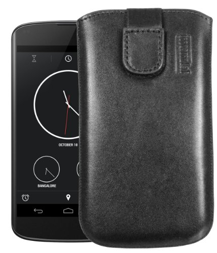 mumbi Echt Ledertasche kompatibel mit LG Google Nexus 4 Hülle Leder Tasche Hülle Wallet, schwarz
