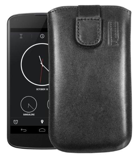 mumbi Echt Ledertasche kompatibel mit LG Google Nexus 4 Hülle Leder Tasche Case Wallet, schwarz