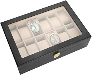 12 Slots Mens Large Watch Box, Large Balck Watch Case Holder with Glass for Men and Women