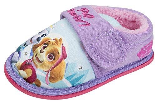 Zapatilla de casa con luz intermitente lila con cierre suave al tacto para niñas 5-10UK (6 UK)
