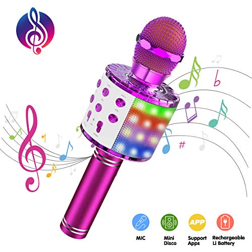 ATOPDREAM Mikrofon Kinder, Geschenke für Mädchen 4-12 Jahre Mädchen Spielzeug 4-12 Jährige Mädchen Geschenk Spiele ab 4 Jahren Mädchen Spielzeug für Jungen 4-12 Jahre Bluetooth Mikrofon