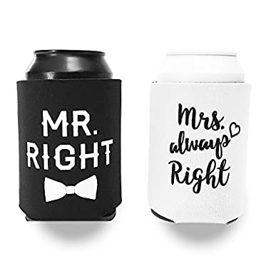 Mr. Right and Mrs. Always Right Can Cooler Set - Gift for Engagement, Wedding or Anniversary - Classic Black and White
