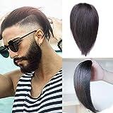 Extensiones de cabello humano invisible frente dos clips en Quiff hacia atrás recortados Hairpieces para hombres 12 pulgadas