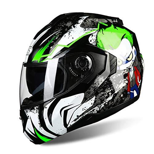 Casco Integral para Motocicleta, Certificado ECE Dot Casco Modular Integral con Doble Visera, Casco De Motocicleta con Tapa Frontal Abatible hacia Arriba para Ciclomotor Cruiser Scooter,B,XXL62to63cm