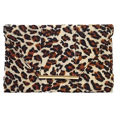 Faux Fur Leopard Print Clutch