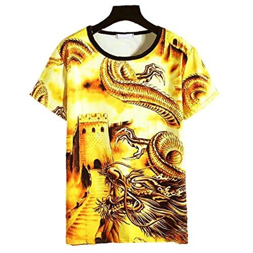 LAANCOO Herren T-Shirts Kurzarm Great Wall Drache Bedruckte T-Shirts für Männer Boy XL Gelb für Frühling Indoor-Bekleidung
