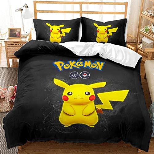 Housse de Couette 240x260cm Pokemon, Pikachu Enfant Parure de lit Imprimée en 3D, Souple, Confortable - Microfibre