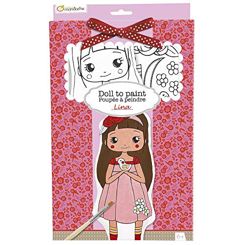 Avenue Mandarine PP008O - Une boite Poupée à peindre comprenant une poupée 13x4x28 cm, un pinceau, un ruban, une planche adhésive en tissu et 6 pots de peinture, Lina