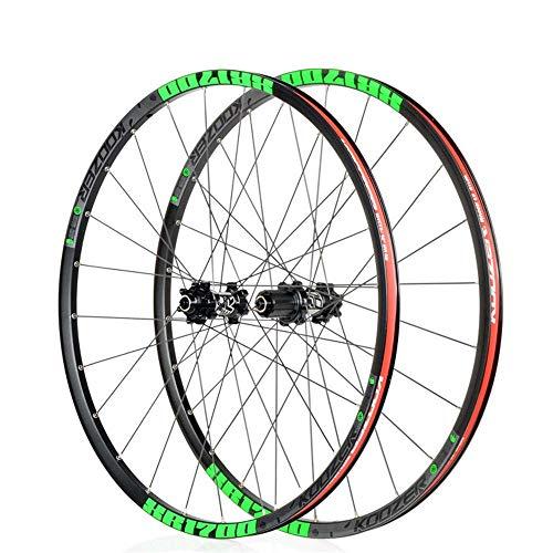 26'/27.5' MTB Bike Wheelset, Disc Brake Alloy Rim Front Wheel Rear Wheel Fast Release Red Hub 24H Shimano Or Sram 8 9 10 11 Speed