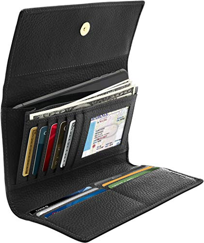 Trifold Clutch RFID Wallets For Women - Large Capacity Womens Wallet Coin Pouch Leather Organizer With Checkbook Cover Gifts For Women