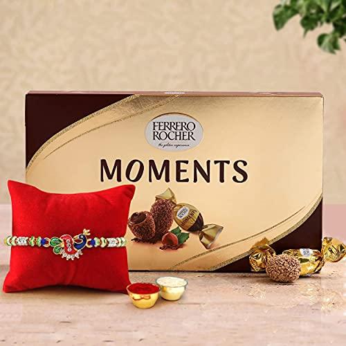 TIED RIBBONS Rakhi Gifts for Brother Designer Rakhi with Ferrero Rocher Chocolate Box(12 pcs) , Rakshabandhan Special Card