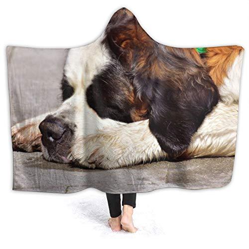 "XNLHQH IJ Hooded Blanket, Wearable Hood Throw Blankets Wrap,Dog St Bernard Sleep Print Soft Kids Blanket Gift Cozy Magic Cloak 50"""" by 40"