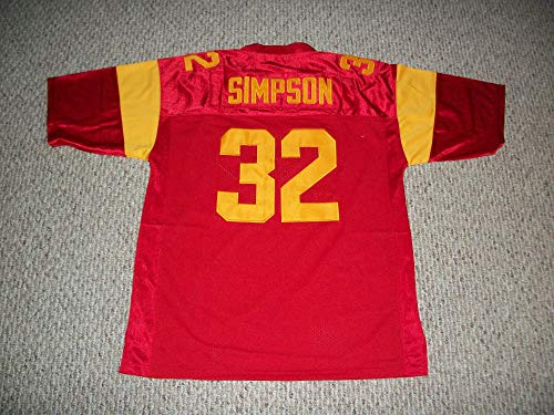 Unsigned O.J. Simpson #32 College Custom Stitched Red Football Jersey Various Sizes New No Brands/Logos (XL)